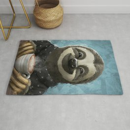 Sloth smilling with coffee latte Rug