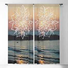 Twilight Mandala Ocean Bliss Dream #3 #sunset #decor #art #society6 Blackout Curtain