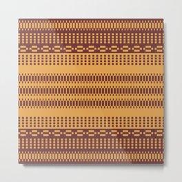 Geometric Motif Ethnic Pattern Mosaic Golden Metal Print