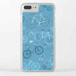 I love bikes in teal Clear iPhone Case