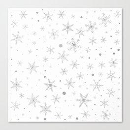 Twinkle Snowflake -Silver Grey & White- Canvas Print