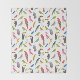 Tropical birds jungle animals parrots macaw toucan pattern Throw Blanket