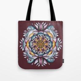 Purple Lotus Mandala with Maroon Background Tote Bag