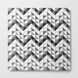 Chevron Facet Black & White Metal Print