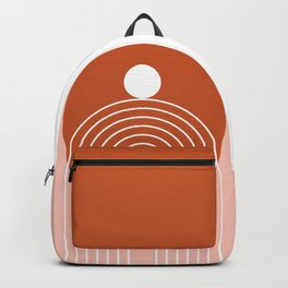 Mid Century Modern Geometric 39 in Terracotta Rose Gold (Rainbow Sun Abstraction) Backpack