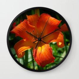Fiery Daylily Flower - Hemerocallis 'Coleman Hawkins' Wall Clock