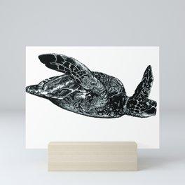 Sea Turtle, pen & ink drawing Mini Art Print