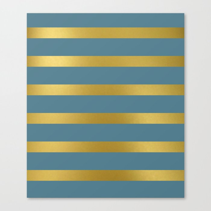 Baesic Gold & Blue Texture Shine Canvas Print