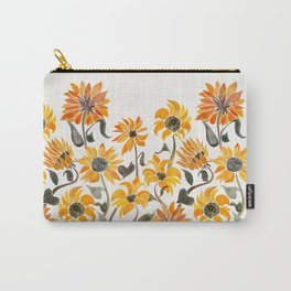 Sunflower Watercolor – Yellow & Black Palette Carry-All Pouch