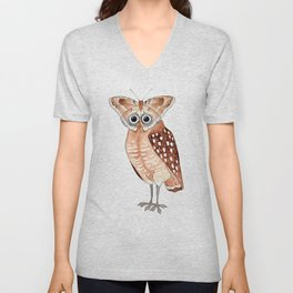Owl and Butterfly Unisex V-Neck