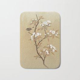 White Pear Blossoms And Sparrow Bath Mat