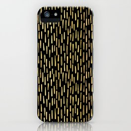Black Gold Foil Lines Stripes Pattern Seamless Vector Hand Drawn iPhone Case