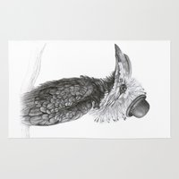 fancy Area & Throw Rugs featuring Fancy Hornbill by Heather Bechler Illustration