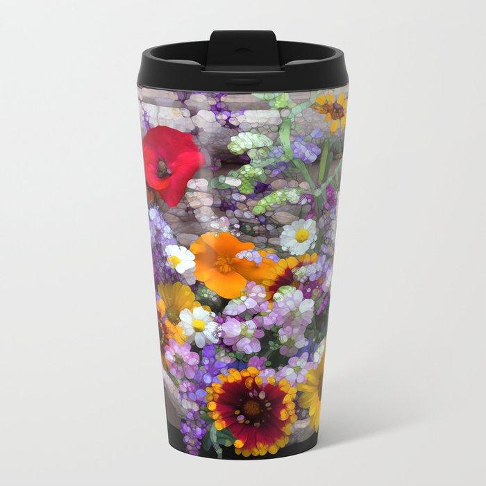 POP floral still life Metal Travel Mug