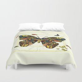 Colorful Butterfly Collage Duvet Cover