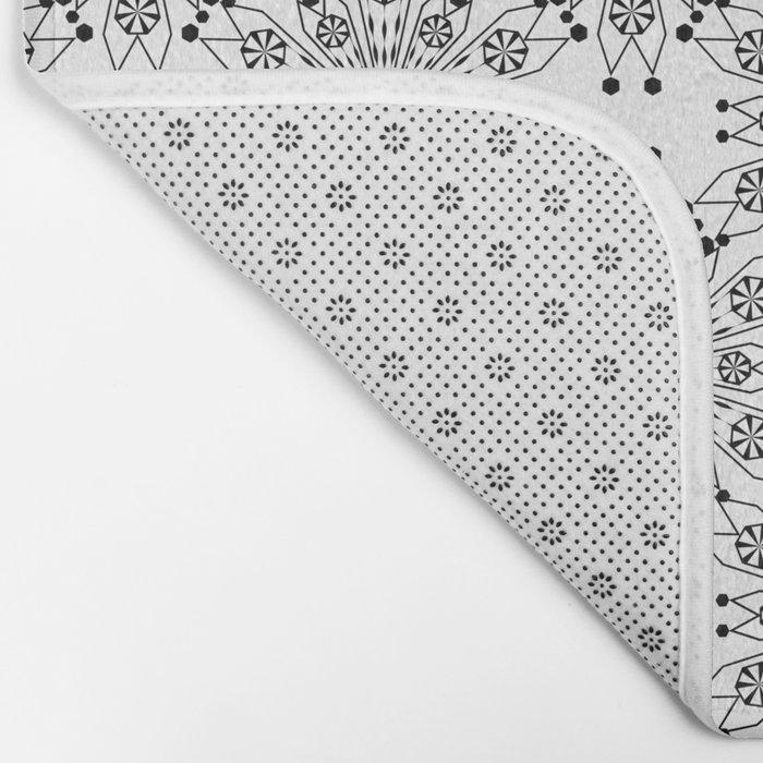 Black lace print elegant ornament Bath Mat