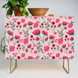 Pink Poppies Seamless Illustration Credenza