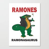 ramones Canvas Prints featuring Ramonasaurus  by Christopher Chouinard