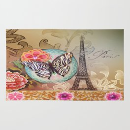 shabby elegance floral butterfly vintage Paris Eiffel Tower Rug