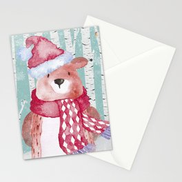 Winter Woodland Friends Cute Bear Snowy Forest Illustration Stationery Cards