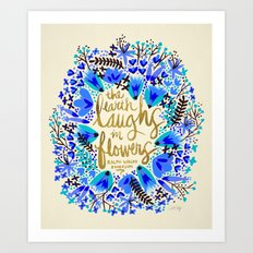 The Earth Laughs in Flowers – Gold & Blue Art Print