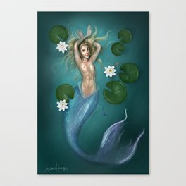 Lilys and the Mermaid Canvas Print