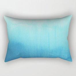 Modern teal sky blue paint watercolor brushstrokes pattern Rectangular Pillow