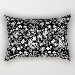 Paisley Power Black and White Rectangular Pillow