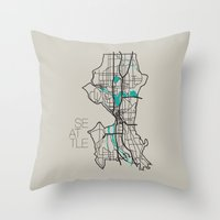 seattle Throw Pillows featuring Seattle by linnydrez