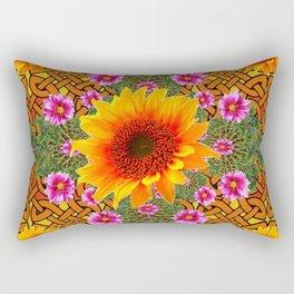 Celtic Fuchsia Green Sunflowers Dahlias Art Design Rectangular Pillow