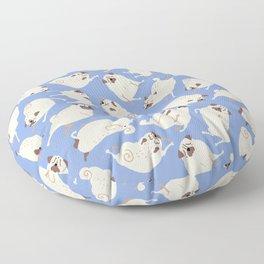 Peppy Pugs - blue Floor Pillow