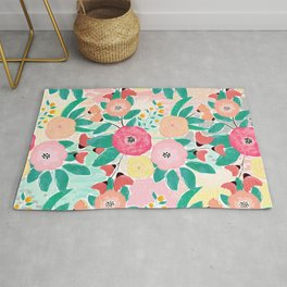 Modern brush paint abstract floral paint Rug