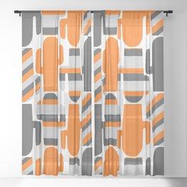 Modern striped cacti Sheer Curtain