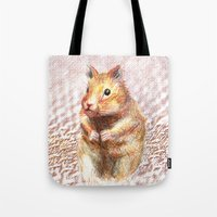 hamster Tote Bags featuring hamster by dace k
