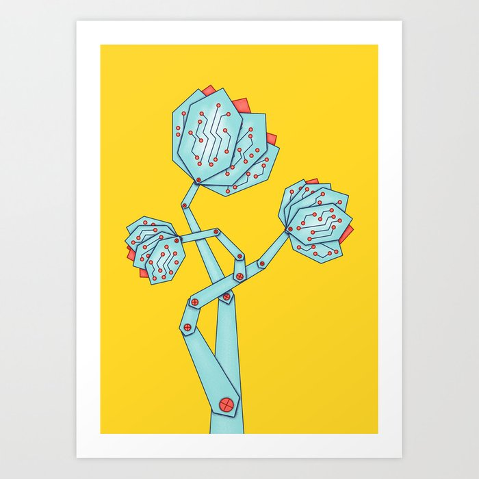 Electronic Flowers Circuit Board Petals Art Print