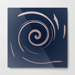 Navy Blue and Rose Gold Swirls Pattern Metal Print