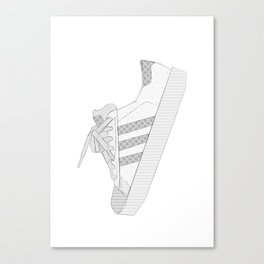 sneaker illustration, shoe drawing, 80s , black and white Canvas Print