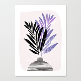 Lavender Olive Branches / Contemporary House Plant Drawing Canvas Print
