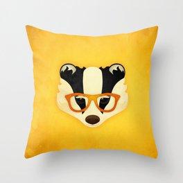 Hipster Badger: Gold Throw Pillow