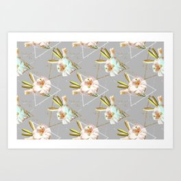 Botanical blooming with geometric 02 Art Print