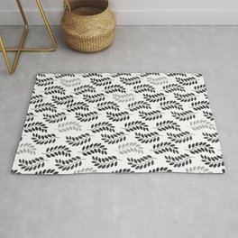 Decore leaves white and black Rug