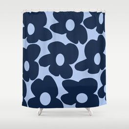 Large Dark Blue Retro Flowers Baby Blue Background #decor #society6 #buyart Shower Curtain