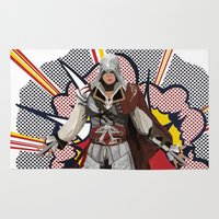 lichtenstein Area & Throw Rugs featuring Assassisn Creed Ezio with a Roy Lichtenstein background by Peter Brown