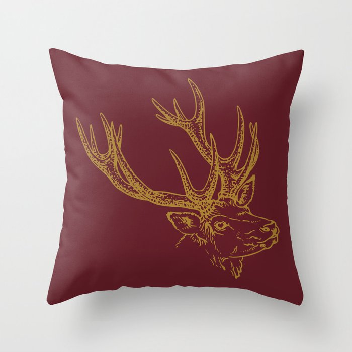 Deer Burgundy Gold Throw Pillow