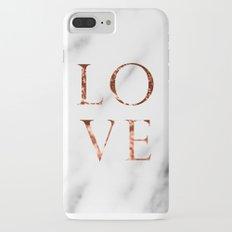 Rose gold marble LOVE iPhone 7 Plus Slim Case