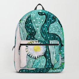 Blooming Cactus  turquoise teal Backpack
