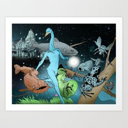The Swan's Procession Art Print