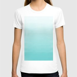 Modern teal watercolor gradient ombre brushstrokes pattern T-shirt