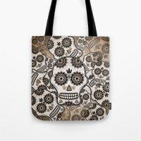 sugar skulls Tote Bags featuring Sugar skulls by nicky2342