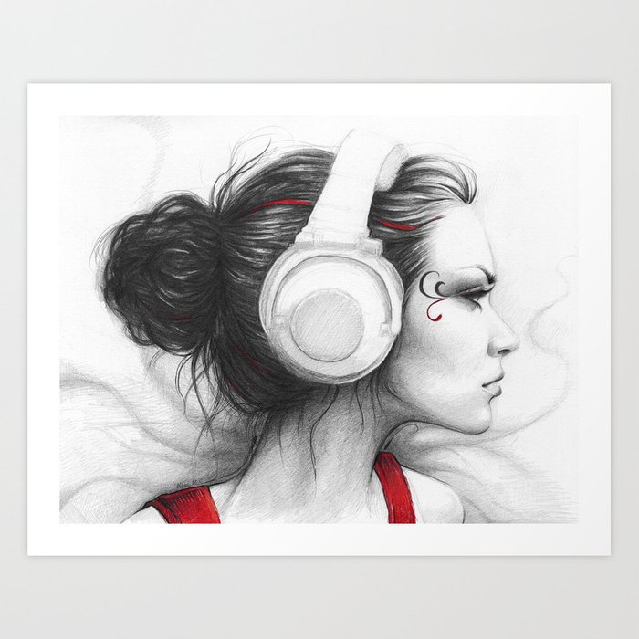 Music Girl In Headphones Art Print By Olechka Society6